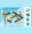 isometric logistics and warehouse concept vector image vector image