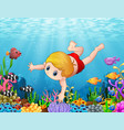 little boy swimming under the sea vector image vector image