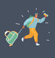 man running to travel vector image vector image