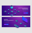 mining bitcoin and cryptocurrency exchange concept vector image vector image