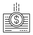 money bill paper icon outline style vector image vector image