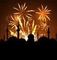mosque silhouette on fireworks vector image