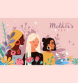 mothers day women portraits with bouquets flowers vector image