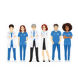 multiethnic doctor team vector image vector image