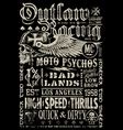 outlaw racing vintage poster t-shirt graphic vector image vector image
