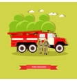 red fire engine in flat vector image