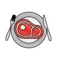 restaurant steak beef fresh food on dish with fork vector image