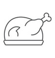 roast turkey thin line icon meat and food vector image