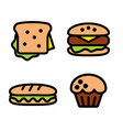 sandwich hamburger baguette and muffin vector image vector image