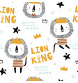 seamless childish pattern with cute lion king vector image
