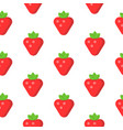 seamless pattern with strawberry in flat style vector image