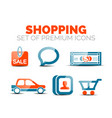 set of glossy shopping icons vector image