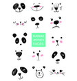 set of kawaii animals faces trendy vector image vector image