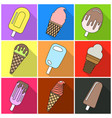 set of nine ice cream on a wooden stick vector image