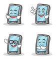 set of smartphone cartoon character vector image vector image