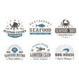 set of vintage seafood barbecue logo templates vector image vector image