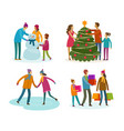 set people winter activity christmas concept vector image