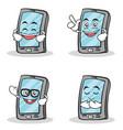 set smartphone cartoon character vector image vector image