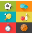 Sport icons in flat design style vector image vector image