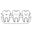 tooth cartoon on gum and holding hands in vector image