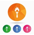 Torch flame sign icon Fire symbol vector image vector image