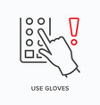 use gloves flat line icon outline vector image vector image