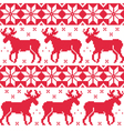Winter red seamless pattern with reindeer vector image