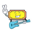 with guitar ticket mascot cartoon style vector image