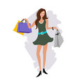 woman hand holding shopping bag cartoon vector image