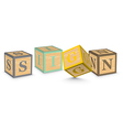Word SIGN written with alphabet blocks vector image vector image