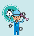 worker holding speedometer and wrench tools car vector image vector image
