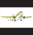 airplane sketch in sky aircraft in minimalistic vector image vector image