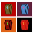 assembly flat icons halloween coffin vector image vector image