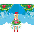beautiful girl in christmas costume vector image