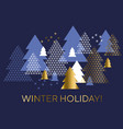 blue and gold minimal geometric christmas tree vector image