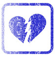 broken heart framed textured icon vector image vector image