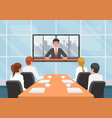 business people at the video conference call with vector image