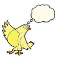 cartoon dancing bird with thought bubble vector image vector image