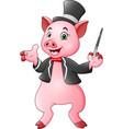 cartoon pig magician with magic wand vector image
