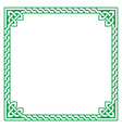 Celtic green frame border pattern vector image vector image