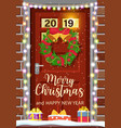 christmas door decoration vector image vector image