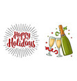 clinking glass champagne bottle serpentine vector image vector image