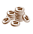 coin stack cash money or casino chips still-life vector image vector image