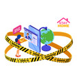 covid19-19 quarantine stay home online education vector image