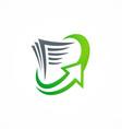 document arrow upload logo vector image vector image