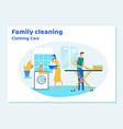 family couple characters cleaning house on weekend vector image vector image