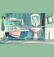 Flooding bathroom in old house cartoon