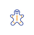 gingerbread man line icon ginger cookie sign vector image