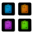 glowing neon clipboard with resume icon isolated vector image