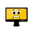 isolated sad computer screen emote vector image vector image
